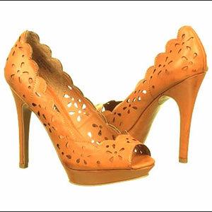 Xoxo Belinda peep toe tan dress pumps  size 7 NWOT